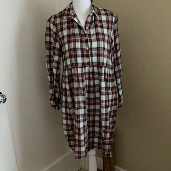 NWOT GAP kids Age 12-13 / XL plaid flannel dress